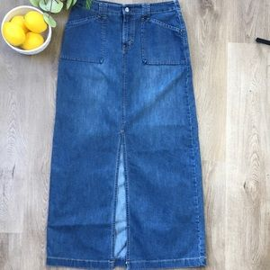 Vintage 90's Levi's Red Tab Denim Maxi Skirt M